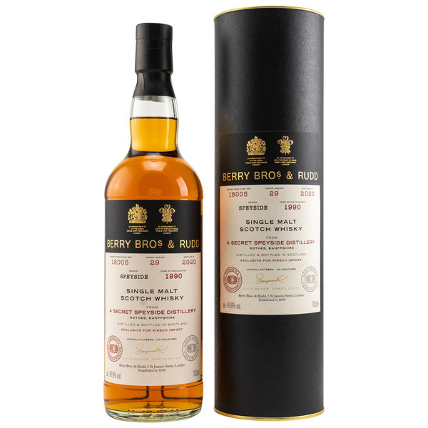 Secret Speyside 29 Jahre 1990/2020 Sherry & Bordeaux Cask Berry Bros. & Rudd #18005